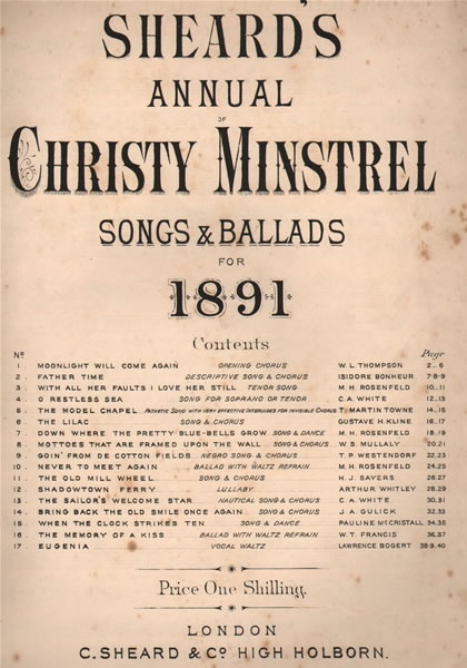 24 - Sheard's Annuals of Christ Minstrel Songs. 1/- each