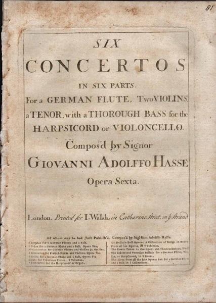 Six Concertos in six parts - Figured BASS PART ONLY - Op.6