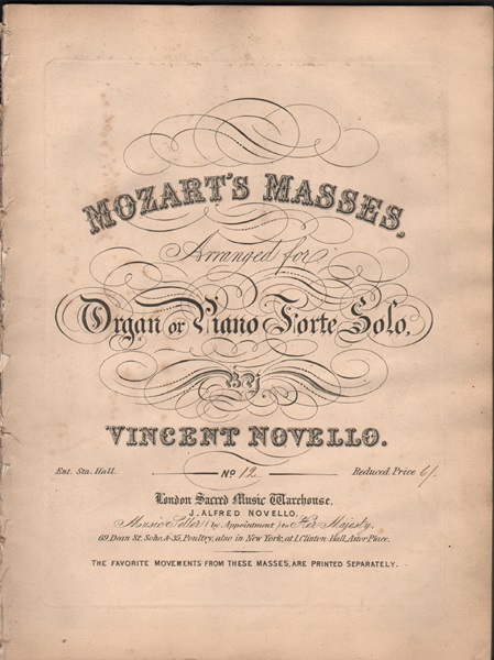 Mozart's Masses, arr.for organ etc.