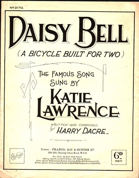 Daisy Bell- (A bicycle built for two)- song