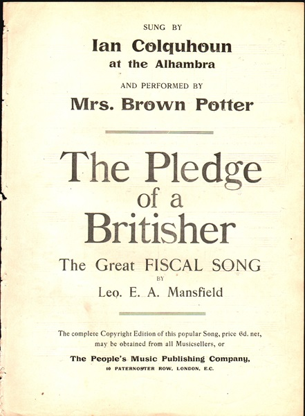 The Pledge of a Britisher - Fiscal song & chorus