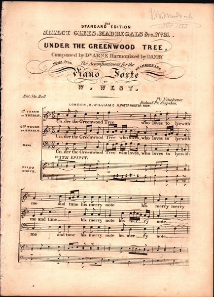 'Under the Greenwood Tree' - Song