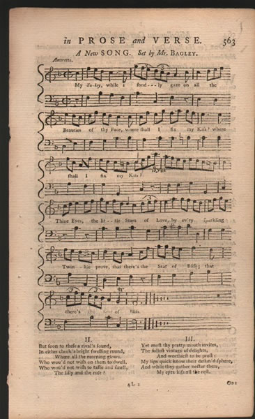 Song & 2 dances from B.Martin's Miscellaneous Correspondence - 1757 - J.H.Bagley/Anon