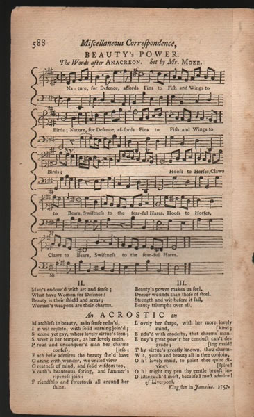 Song from- B.Martin's Miscellaneous Correspondence, etc., - 1757 - Mr.Moze