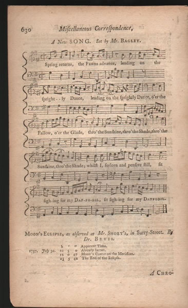 A new Song from B.Martin's Miscellaneous Correspondence, etc. Vol.11 - 1757 - Mr.Bagley