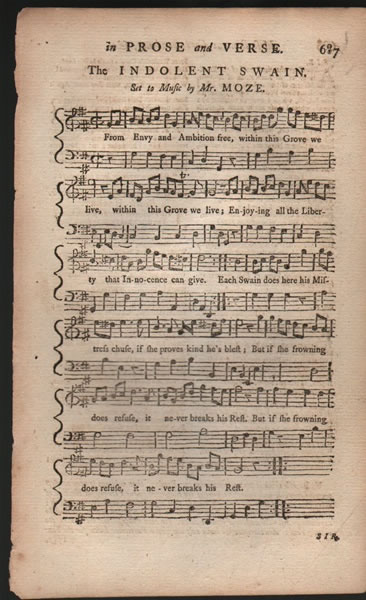A song from B.Martin's Miscellaneous Correspondence, etc. - 1757 - Mr.Moze