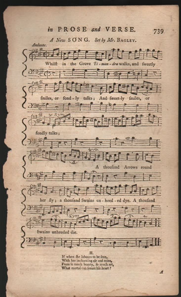 A song from B.Martin's Miscellaneous Correspondence, etc. - 1758 - Mr.Bagley