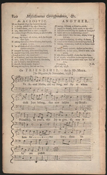 A song from B.Martin's Miscellaneous Correspondence, etc. - 1758 - Mr.Moze
