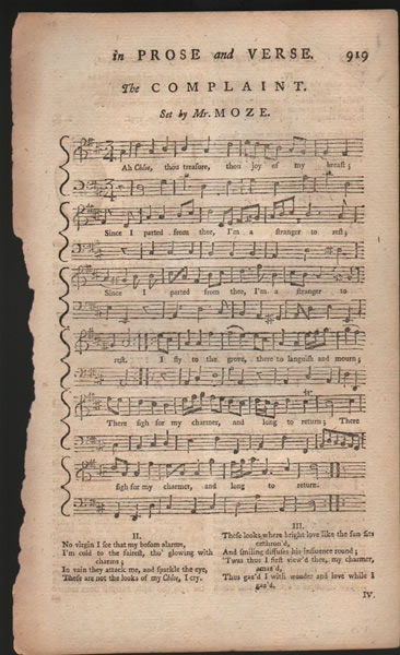 Song from B.Martin's Miscellaneous Correspondence - 1758 - J.H.Moze