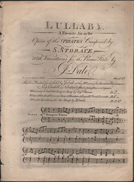 pf.variations 'Lullaby' from Storace's 'Pirates' - J.Dale