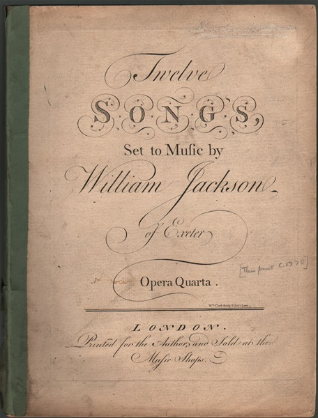 Twelve Songs set to music by William Jackson