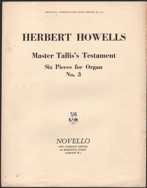 Master Tallis's Testament - 6 pieces for Organ- No.3