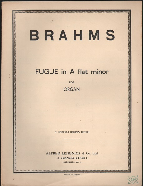 Fugue in A flat minor - Organ