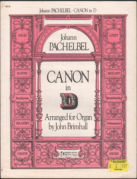Canon in D for Organ
