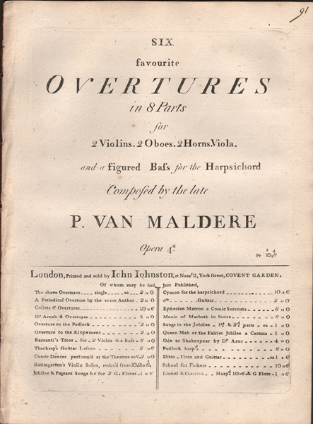 Six favourite Overtures in 8 parts - Op.4 - Basso pt. only