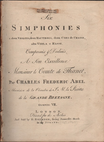 Six Simphonies - Op.7 - Figured Basso part only