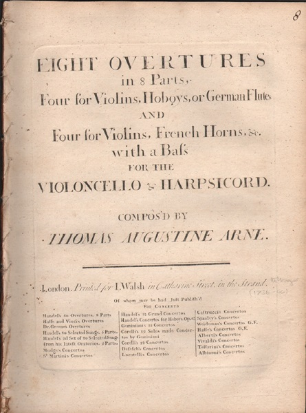 Eight Overtures in 8 Parts - Figured bass part only