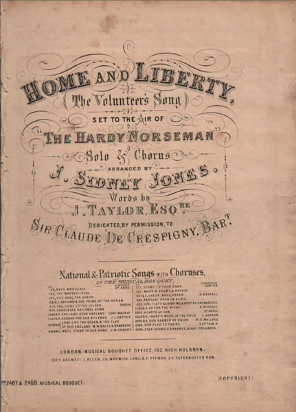 Home and Liberty, the Volunteer's Song and chorus
