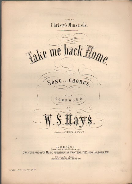 Take me back Home - song and chorus