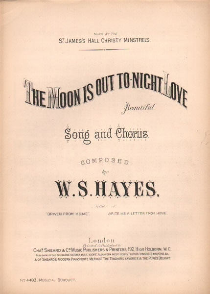 The Moon is out to-night Love - song & chorus