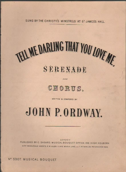 Tell me Darling that you Love me - serenade & chorus