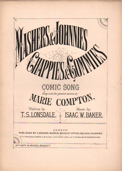 Mashers & Johnnies - comic song & chorus