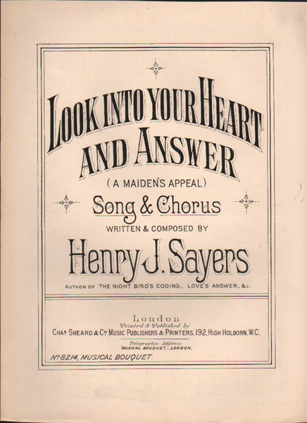 Look into your Heart and Answer - song & chorus