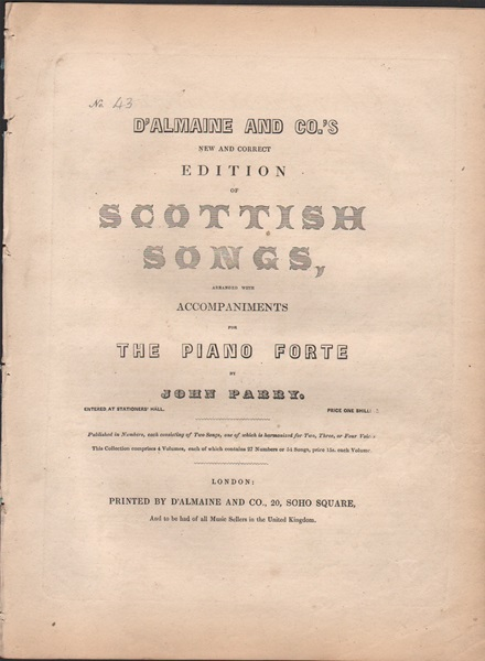 New and Correct edition of Scottish Songs - No.43