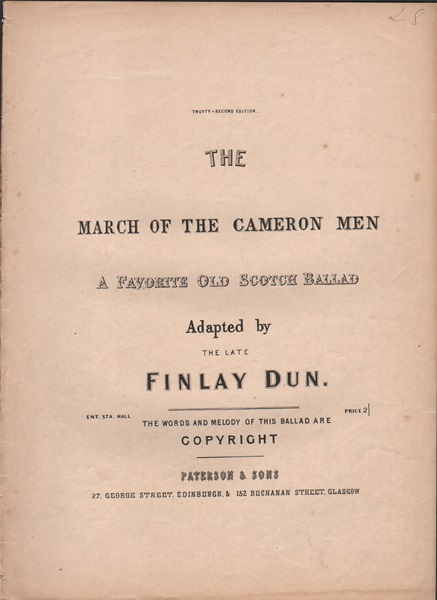 The March of the Cameron Men - ballad