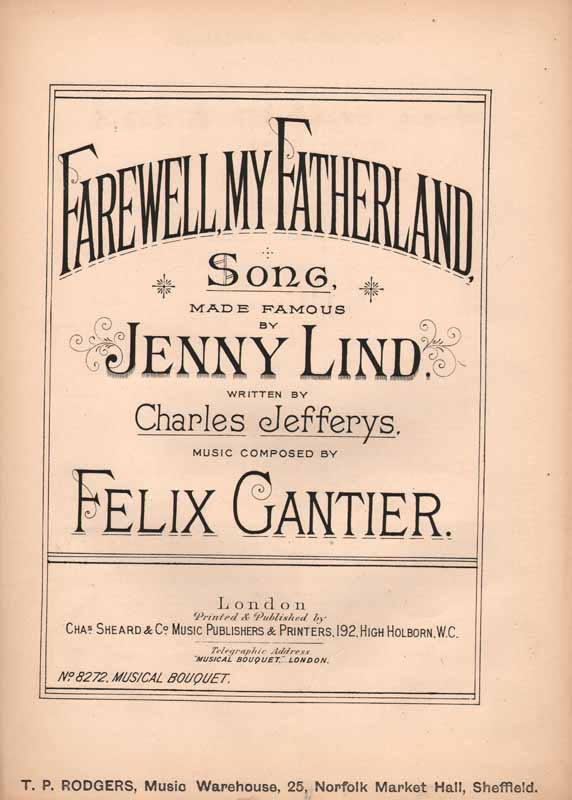 Farewell,My Fatherland    Jenny Lind,s famous song