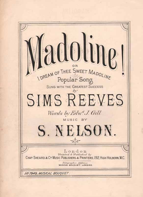 Madoline!  or (I Dream of Thee, Sweet Madoline)